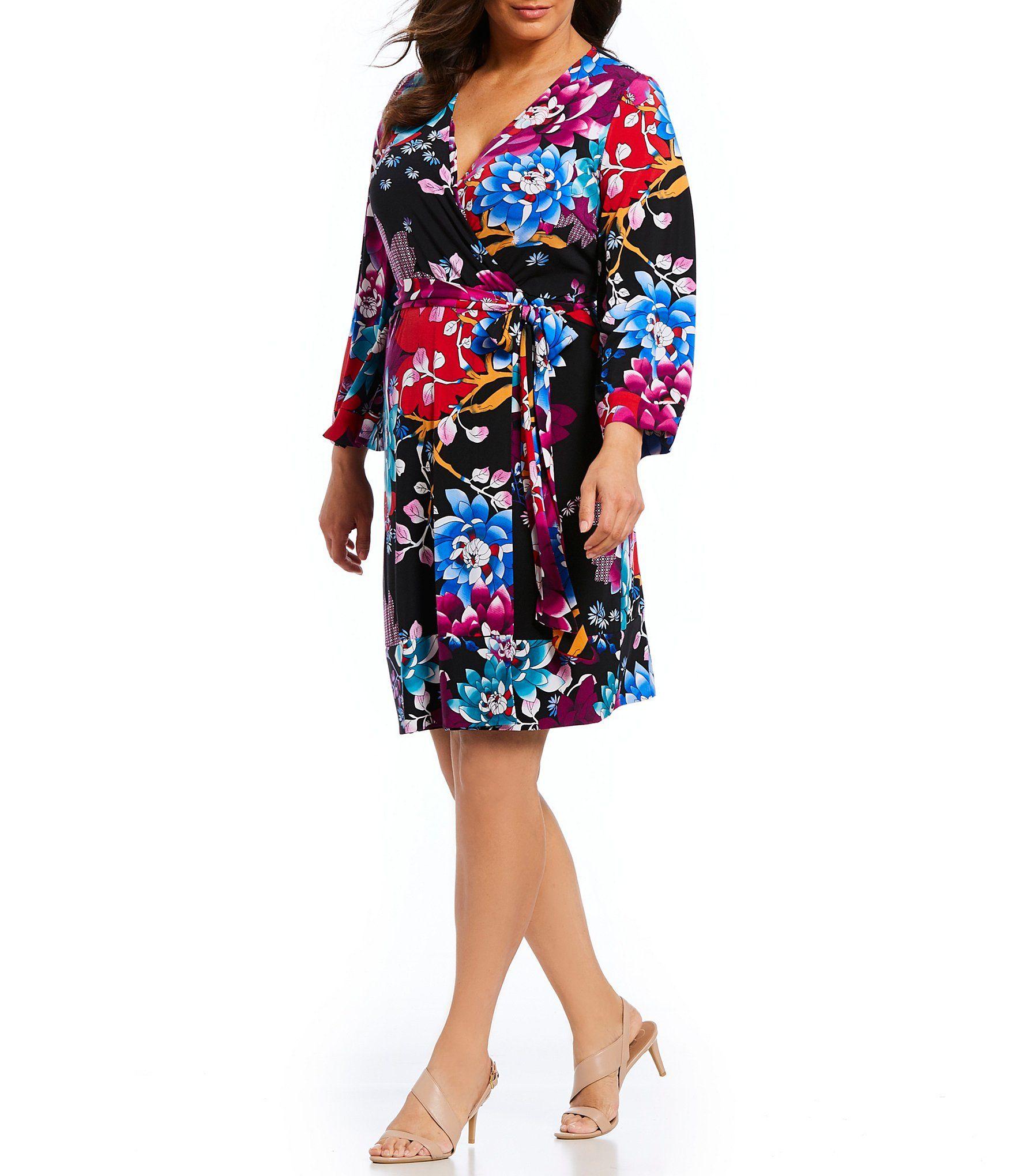7240a48981a Calvin Klein Plus Size Floral Print Kimono Faux Wrap Dress  Dillards ...