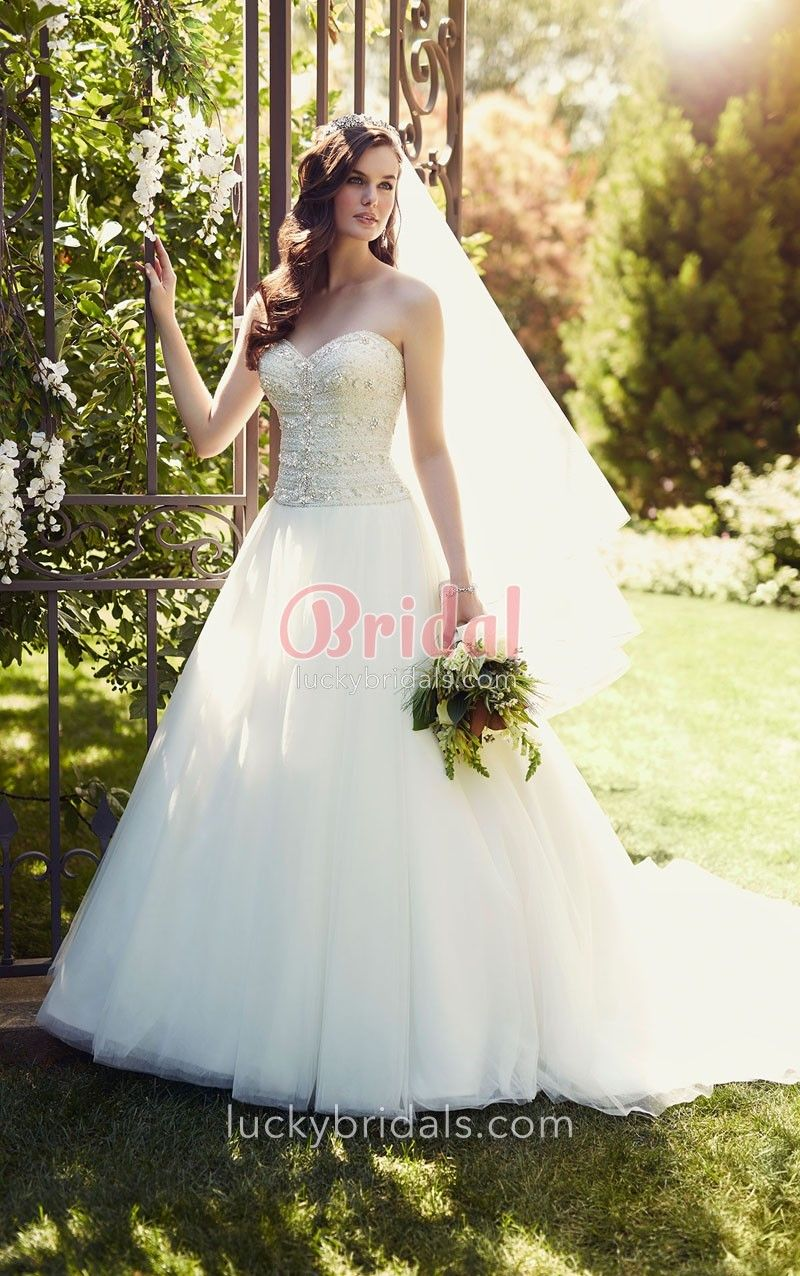 Ball gown wedding dress with bling  Strapless Sweetheart Beaded Bodice Ivory Tulle Ball Gown Wedding