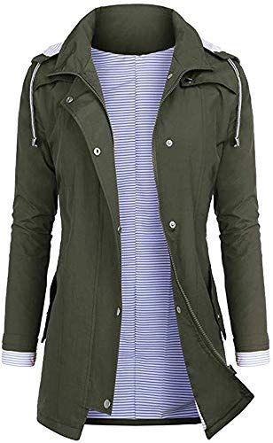 New Winjud Womens Jacket Waterproof Lightweight Windbreaker Breathable Hooded Outdoor Rain Coat Womens C Rain Jacket Women Hooded Trench Coat Waterproof Jacket