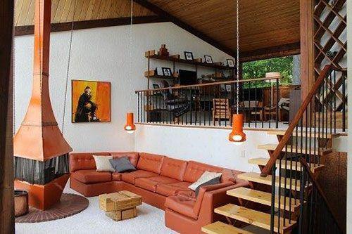 Great 20 Cool 60u0027s U0026 70u0027s Sunken Living Room Remodel, Design U0026 Ideas | Rustic  Stairs, Diy Cabin And Retro Renovation