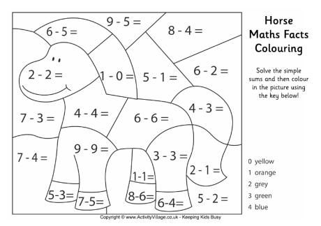 Horse Maths Facts Colouring Page 1st Grade Math Pinterest Math