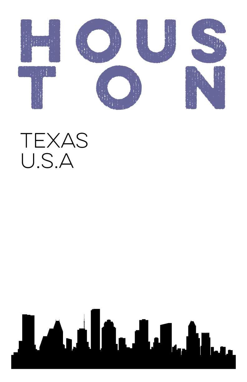 Houston texas city skyline digital print 11x17 poster