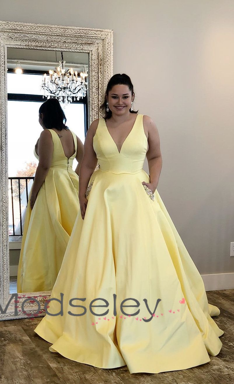 07f61ee62f5 Yellow Long Prom Dress with Beaded Pockets from modseleystore in ...