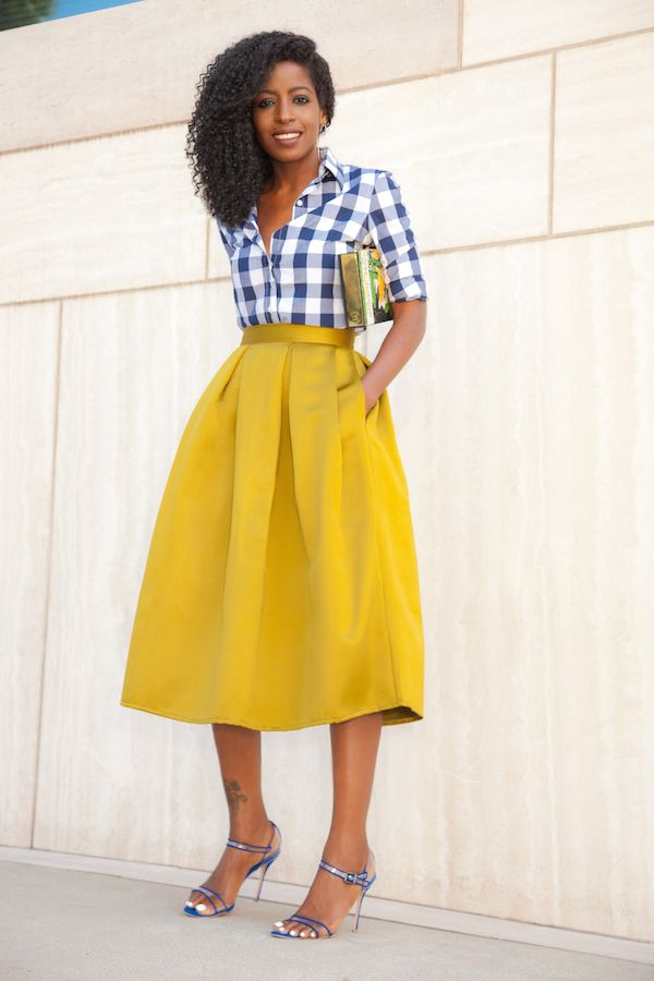 navy gingham shirt   mustard yellow pleated midi skirt | style ...