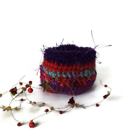 Cache Pot Crochet Red Purple Jewelry Buttons by cozylittlecorner ...