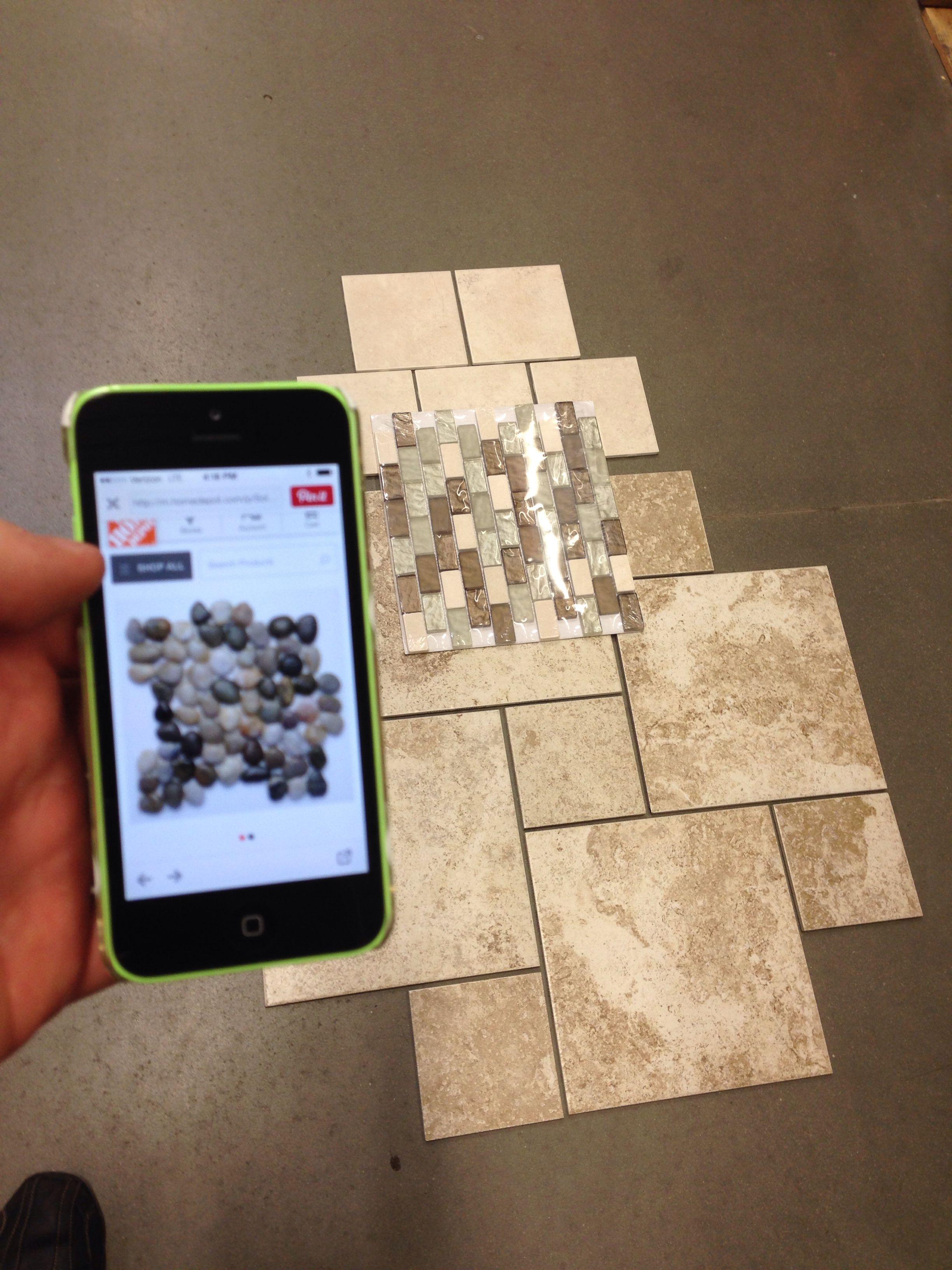 Master bath floor 12x12 and 6x6 in a hopscotch pattern for Bathroom designs 12x12