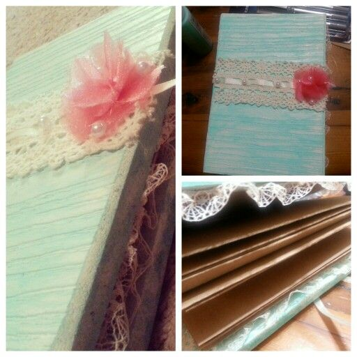Wedding guest book. Accordion style with painted wood blocks, lace, and hot glue