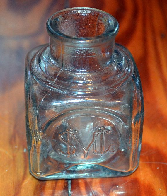 Antique Inkwell Smc Clear Glass Inkwell Vintage Sanford Manufacturing Company Ink Well Antique Inkwells Clear Glass Antiques