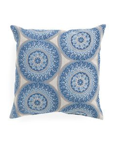 18x18 Indigo Circle Medallion Pillow