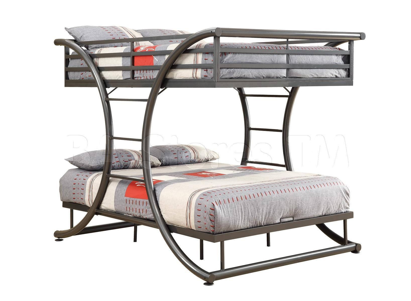 Gun Metal Full Over Full Size Bunk Bed