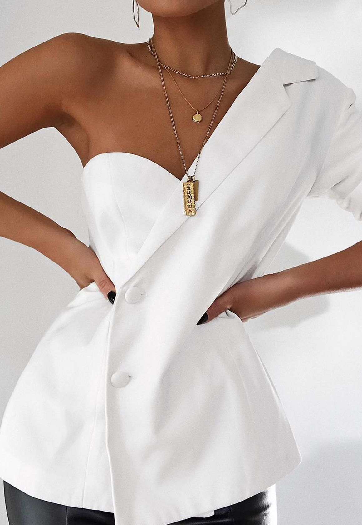 26aaba66116b Missguided - White One Sleeve Crepe Blazer | Imy in 2019 | Fashion ...