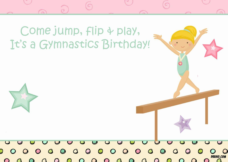 3 Printable Birthday Invitation Template  Gymnastics birthday