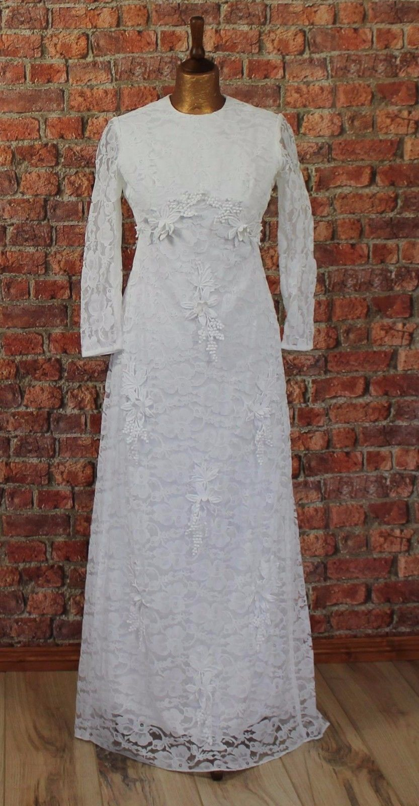 Vintage s wedding evening dress white long lace victorian style
