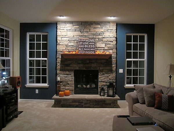 Wooden Fireplace Mantels With Natural Stone Wall And Sofa ~  Http://lanewstalk.