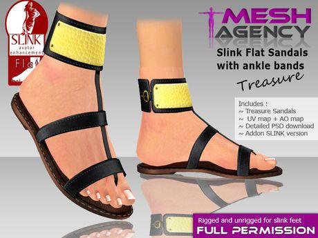 2b4bcc1b437 Second Life Marketplace - Slink Flat Sandals + Ankle Bands