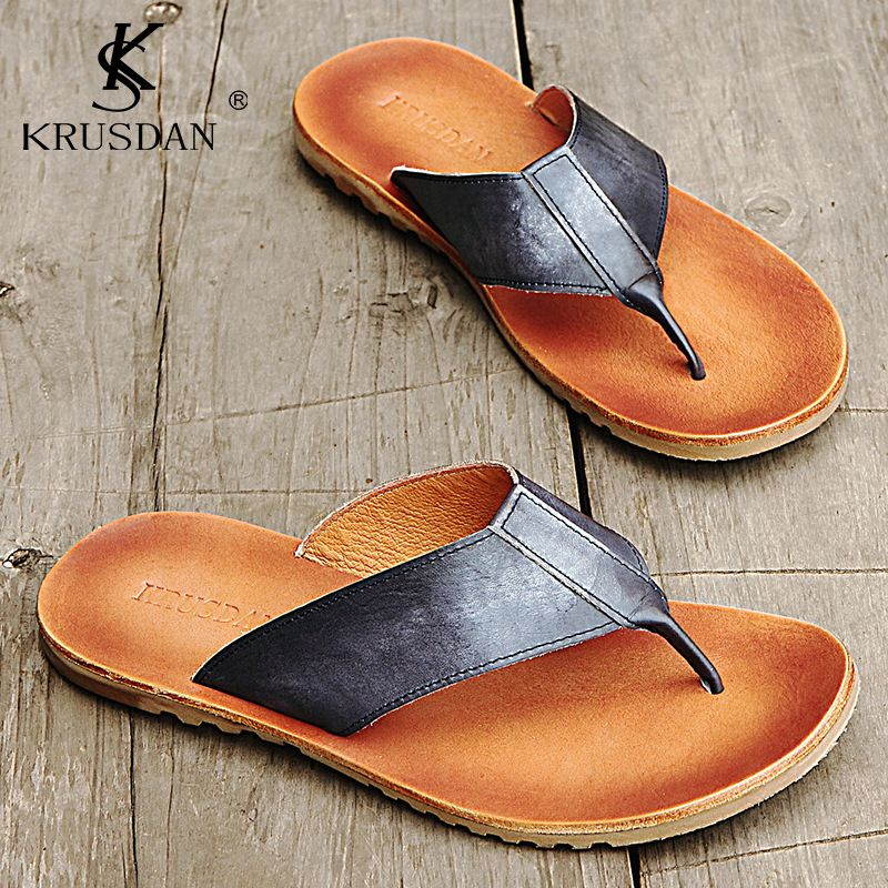 6bb84d019f6aca Men s Shoes Genuine Leather Sandals Italian Style Luxury Male Flip Flops  Brand Beach shoes Men s Sandals