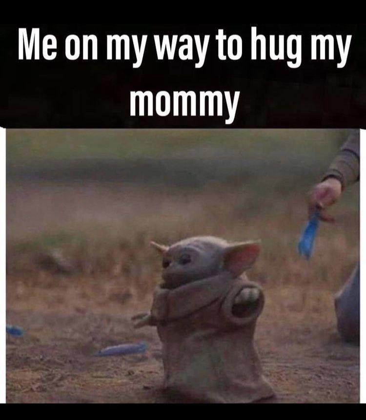 Baby Yoda Hug Mommy Yoda Funny Yoda Funny Relatable Memes