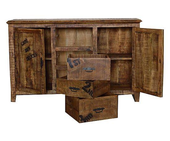 Credenza Con I Pallet : Credenza in legno con 3 cassetti e 2 ante naturale 160x45 cm