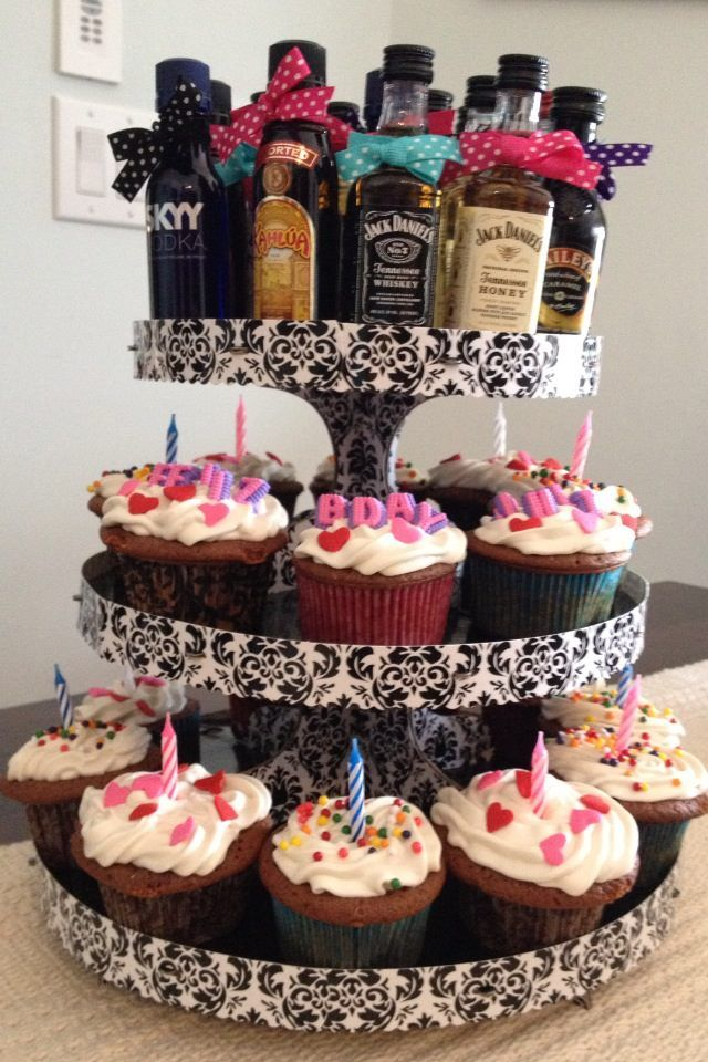 Liquor Bottle Cake Decorations 21St Birthday Cupcake Tower  Small Bottles Of Liquor Tied With