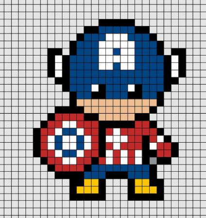 Capitan America Hama Beads Dibujos Faciles Patrones