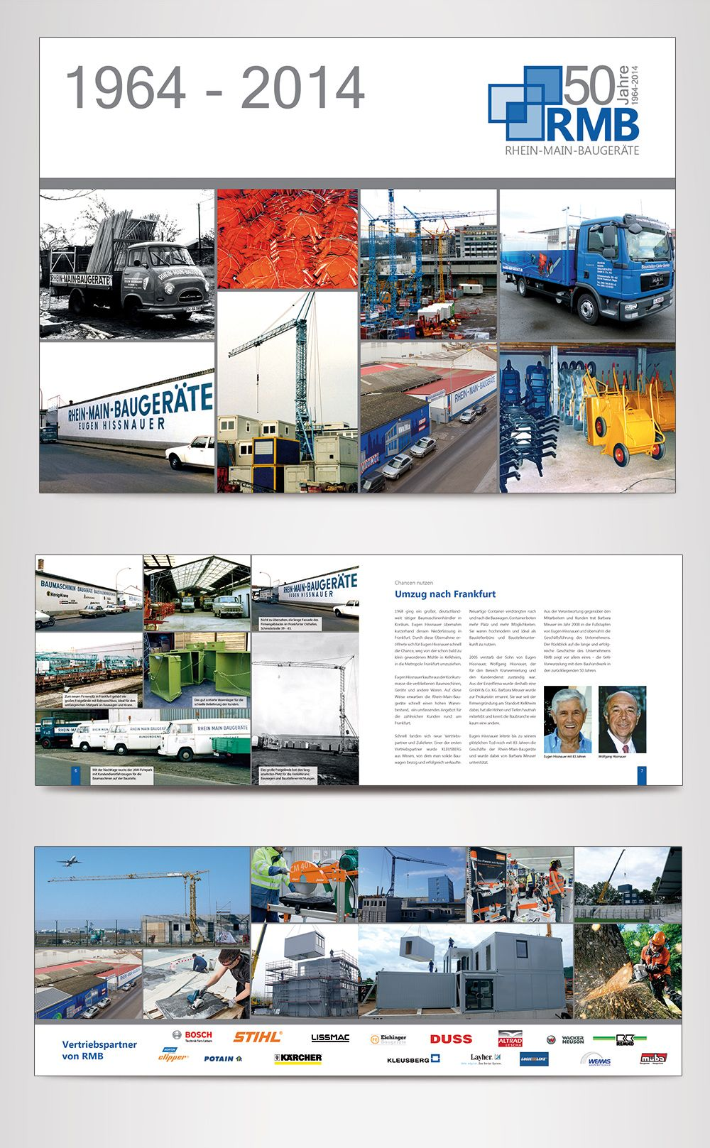 Jubiläumsbroschüre zum 50-jährigen Bestehen der Firma Rhein-Main-Baugeräte (RMB) in Frankfurt