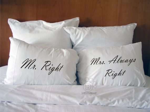Handmade Printed Cotton Couple Pillow Covers Mr Right Mrs