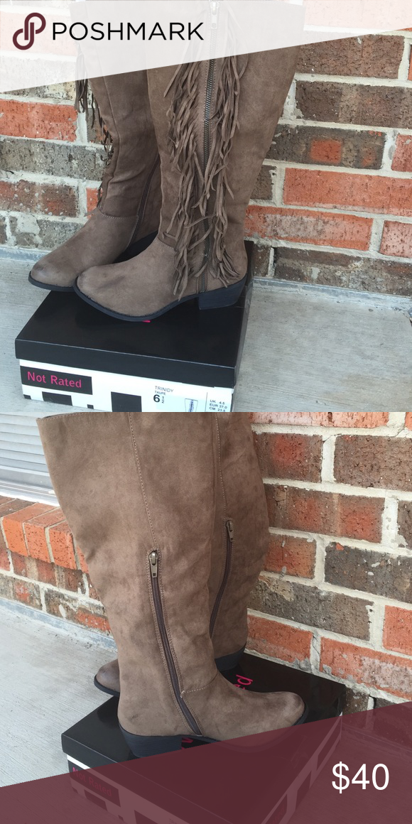 Not Rated Shoes Grey Suede Fringe Boots Color Gray Size 8 Fringe Boots Boots Not Rated Shoes