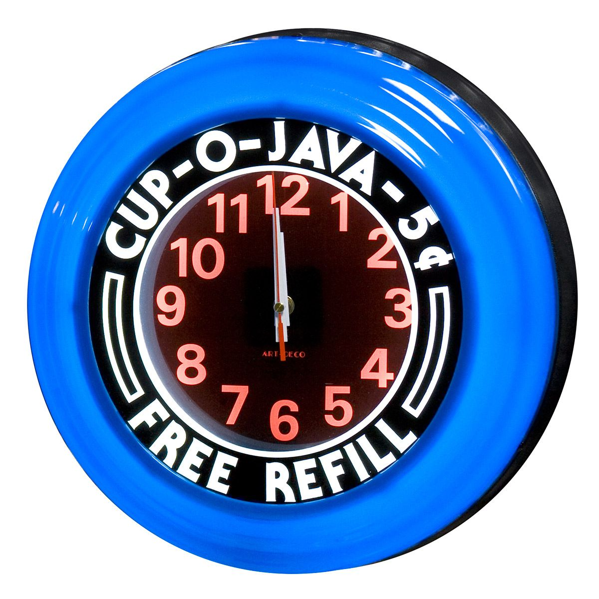 Cup O Java Free Refill Blue Lighted Diner Clock Wall Clock Art Deco Clock Wall Clock
