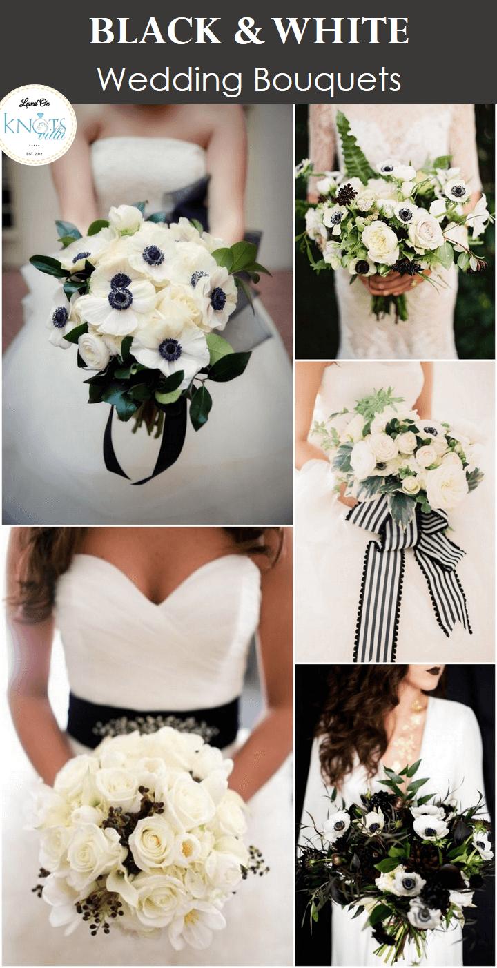 Black and white wedding decor ideas  Black and White Bouquets  White wedding bouquets Weddings and Black