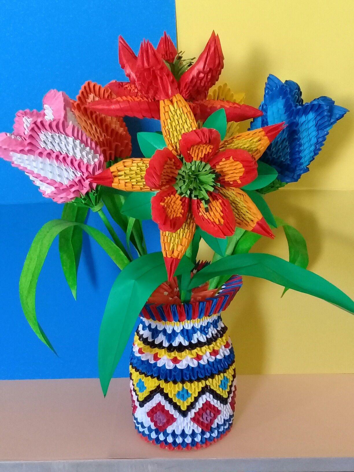 Vase à fleurs Origamie 3d Fabiola MD | Modular origami ... Ze Gl Vase on