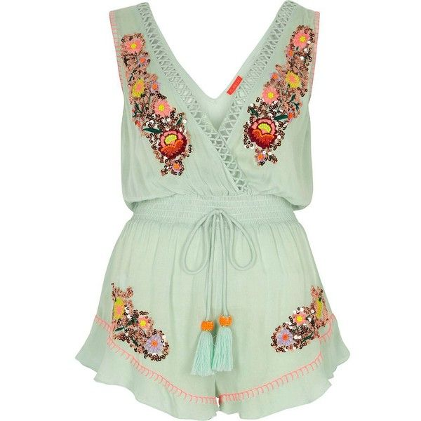 34dff48fa9 River Island Light green embellished beach playsuit ( 68) ❤ liked on  Polyvore featuring river island