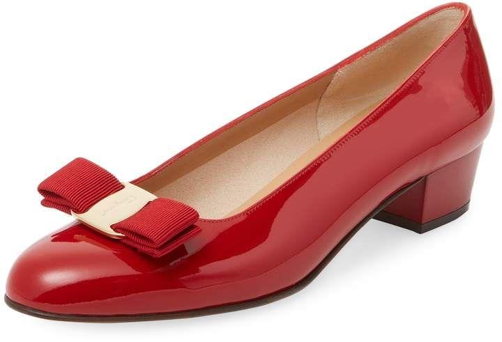 57c1568337684 Salvatore Ferragamo Women s Vara Patent Leather Block Heel Pump