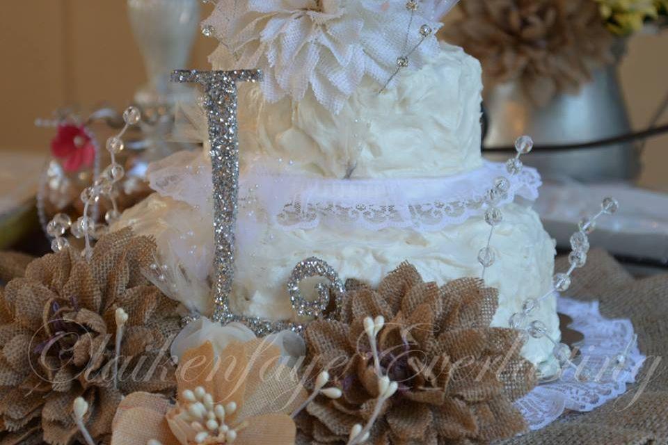 Burlap wedding cake handmade cake topper bought wooden