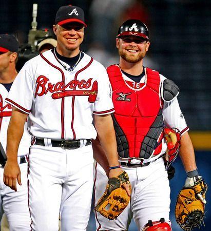 Ll Lufelive Thepursuitofprogression Baseball Mlb Chipper Jones And Brian Mccann Of The Atlanta Braves Braves Braves Baseball Atlanta Braves Baseball
