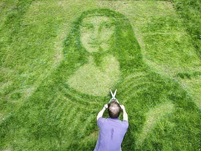 Graan graffiti. An art-obssessed gardener in the UK employed a 3D artist to snip her lawn to look like Da Vinci's Mona Lisa, or as one of the UK tabloids renamed her – Mown a Lisa.