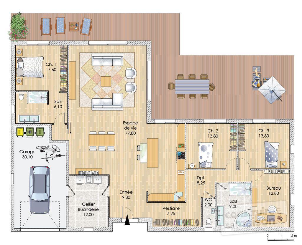 Plan de maison : Une maison contemporaine en Bourgogne | Faire construire sa maison