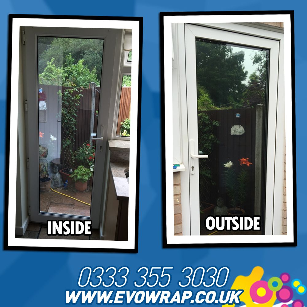 One Way Window Film Installed Onto A Door To Stop People From Looking In