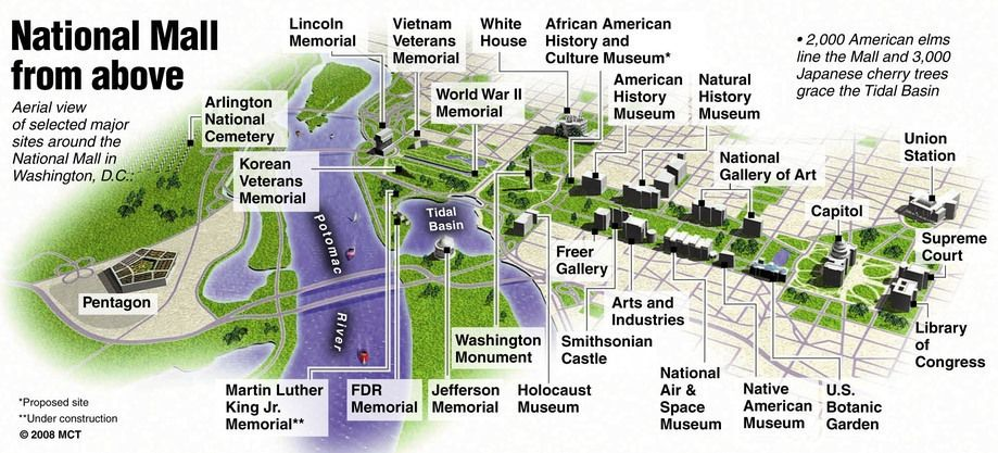 picture about Washington Dc Tourist Map Printable identified as Printable Map Of The Countrywide Shopping mall Washington Dc maps upgrade