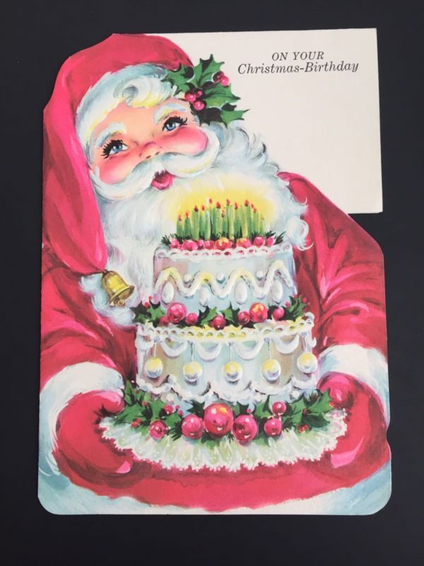 Vintage Christmas Birthday Greeting Card Unused Santa