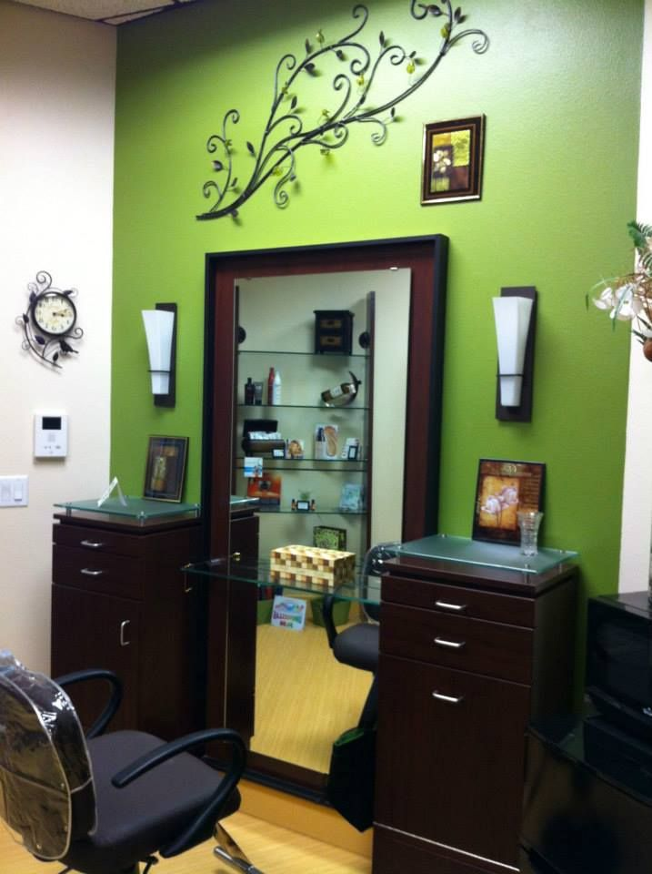 Funky green accent wall | MY SALON Suite® Photo Gallery in