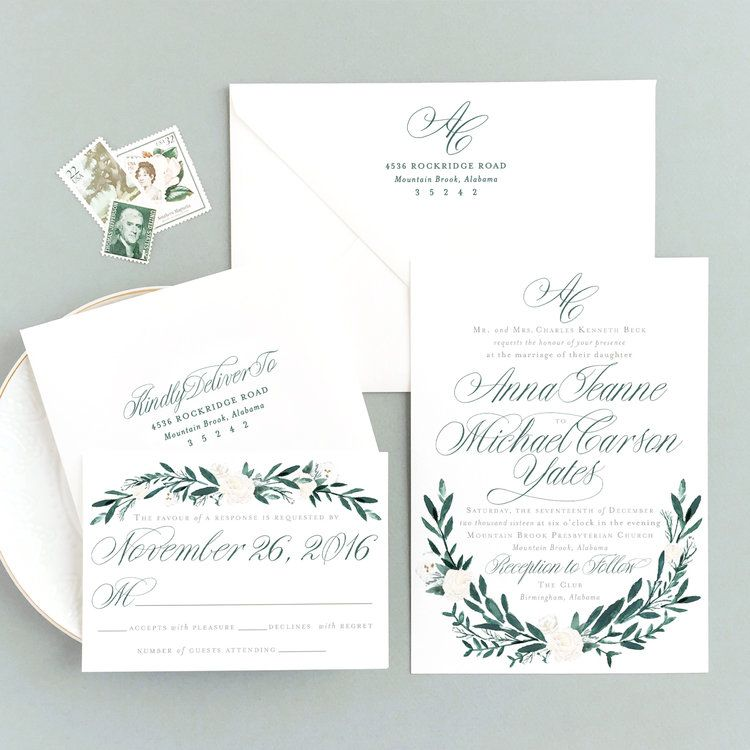 Green Wedding Invitation Empress