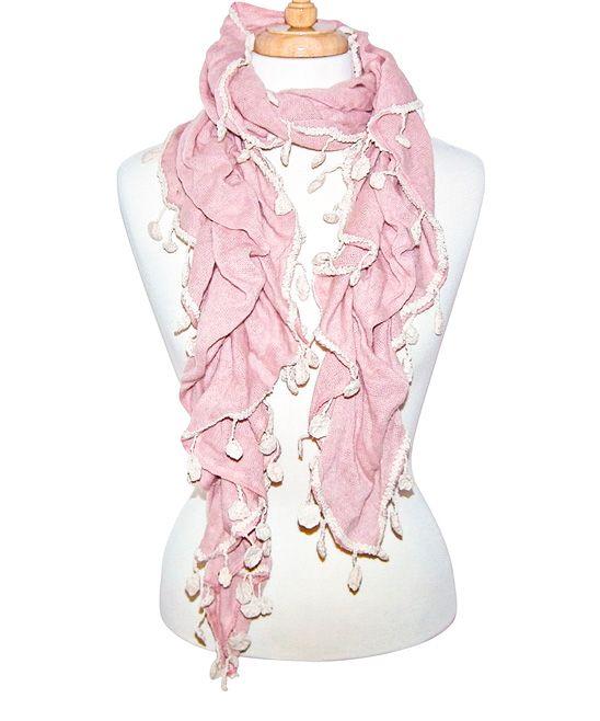 Light Pink Pucker-Knit Scarf