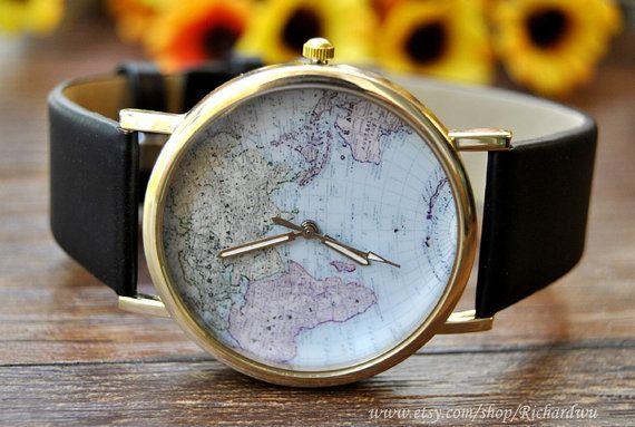 World map watch golden case watch black leather by richardwu 350 world map watch golden case watch black leather by richardwu 350 personalized leather wrist watch gumiabroncs Gallery