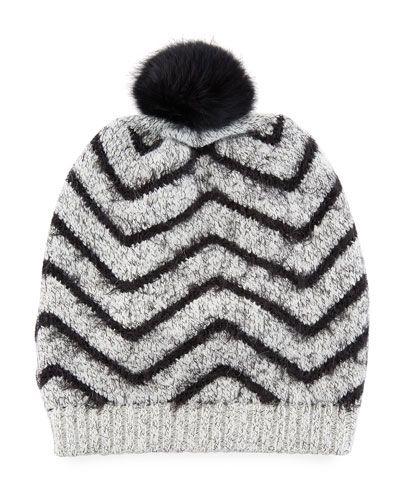 b496d733d04 Chevron Fuzzy Knit Hat w Fur Pompom. LA FIORENTINA .