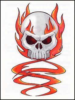 Flaming Skull Temporaray Tattoo By Fun 395 White With Orange Flames Temporary Sheet Size 2 1 2x 3 4