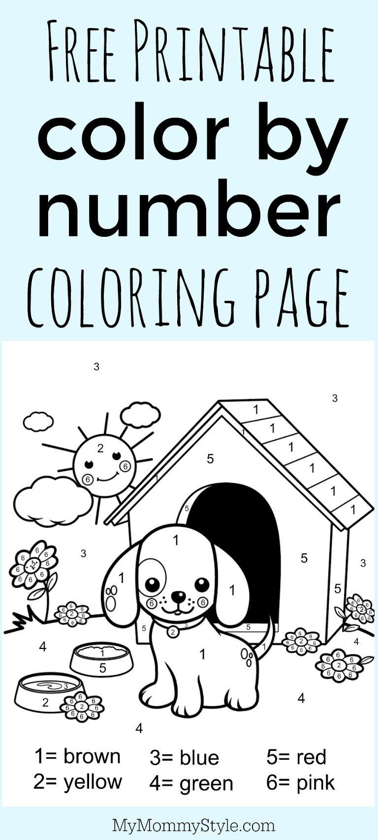 Color By Number Coloring Page Free Printable My Mommy Style Printables Free Kids Kindergarten Colors Preschool Coloring Pages [ 1706 x 768 Pixel ]