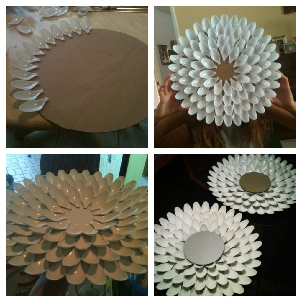 So easy and so fun flower mirror made out of plastic for Flowers made out of plastic spoons