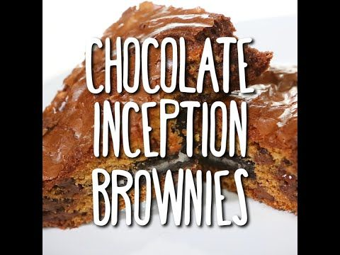 Chocolate Inception Brownies! A triple threat of your three favorite desserts in one: chocolate chip cookies, brownies and Oreos! It's a slam dunk recipe everyone will love!