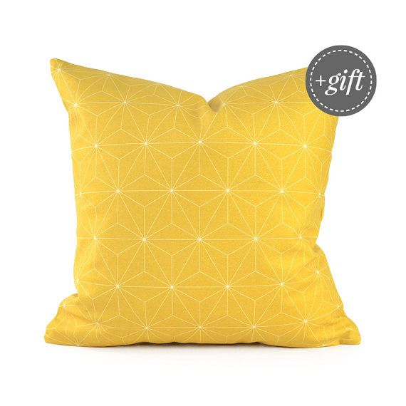 Bright Yellow Throw Pillow Cover Featuring Geometric Pattern Of Isometric Cubes Perfectly Stacked Together