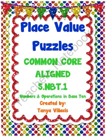 This purchase contains 36 puzzles where students gain practice in recognizing that in a multi-digit number, a digit in one place represents 10 time…